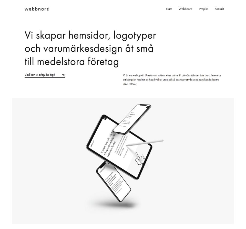 webbnord.se example of minimalist website design