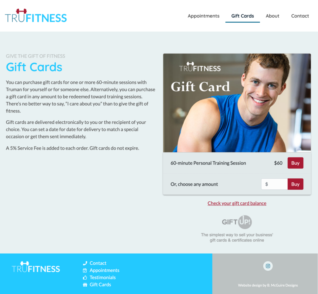 truman griffin fitness gift cards feature